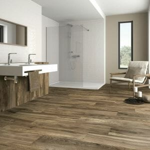 Dark wood tile Bellver Oak. 8x48 Rectified porcelain tile from Spain