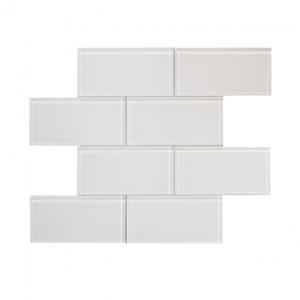 3x6 white glass subway tile