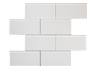 3x6 white glass subway tile