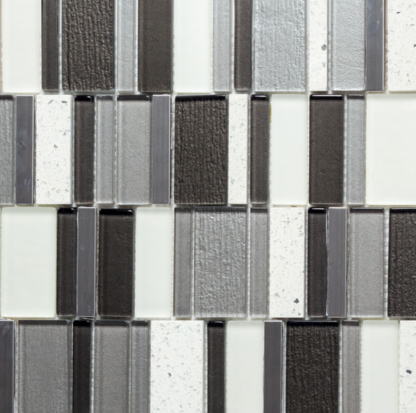Suomi Grey Glass, Metal and Quart Mixed Mosaic Tile For Kitchen backsplash and bathroom walls