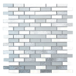 Zahir Strips Glass, Stone Mixed Mosaic Tile Fro Kitchen backsplash and bathroom walls in shades of grey