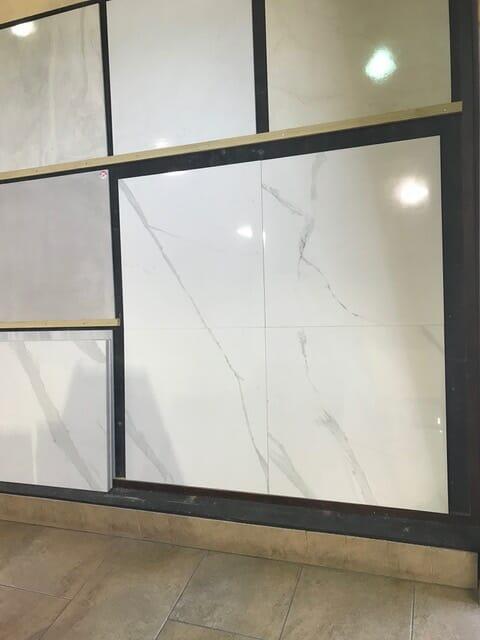 White Marble Look Tile Baranello Showroom Display