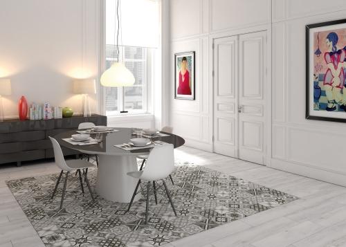 Decorative floor tile heritage mono