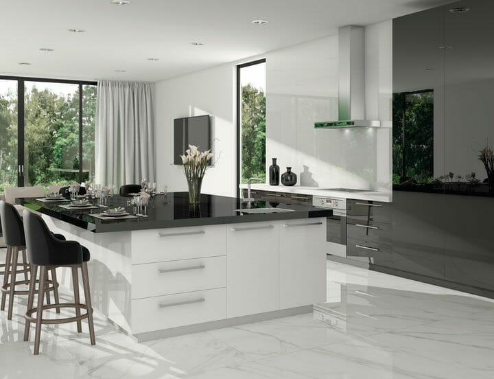 white marble look porcelain tile with soft grey veining