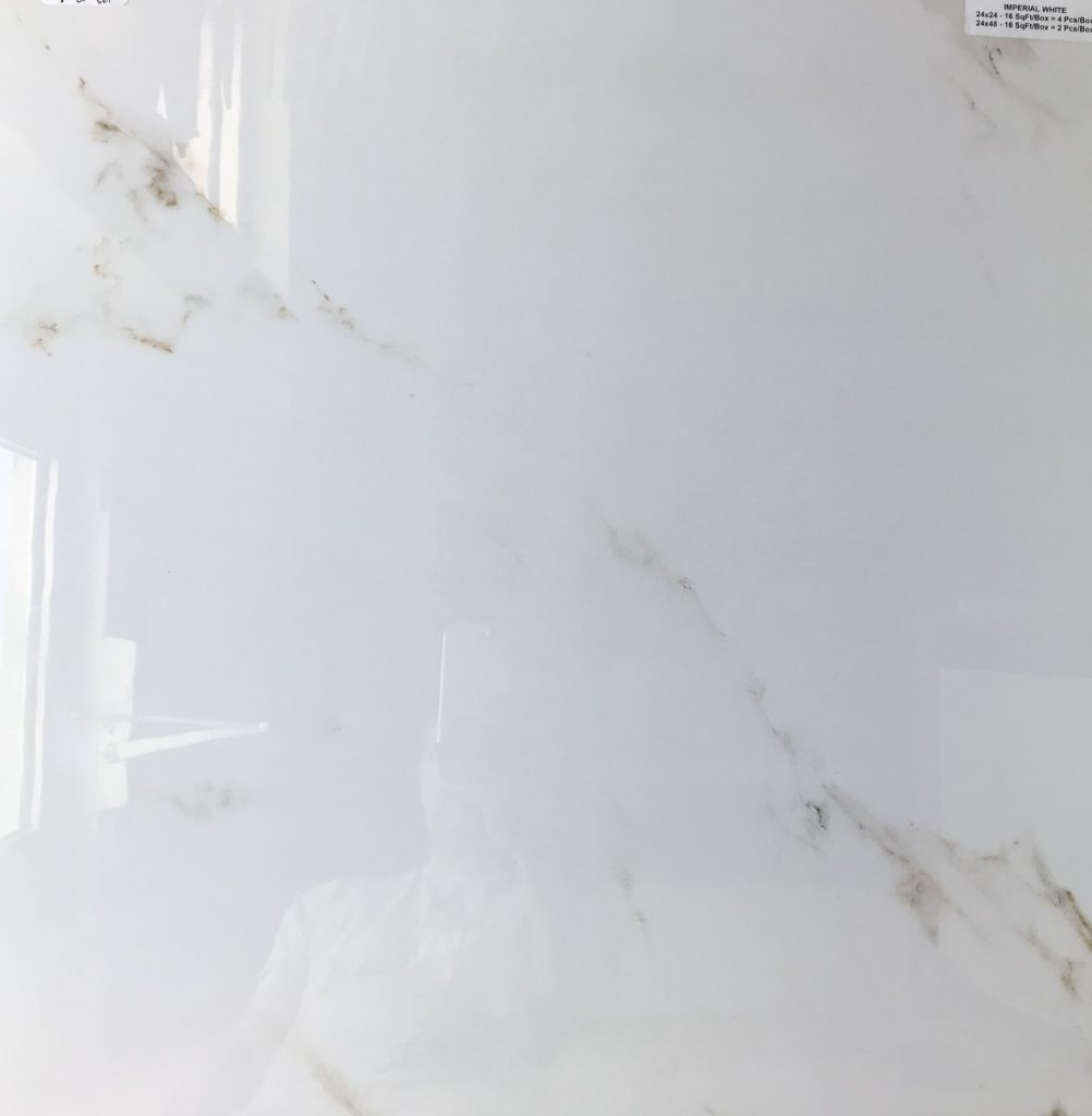 White Porcelain Tile With Champagne Color Veining