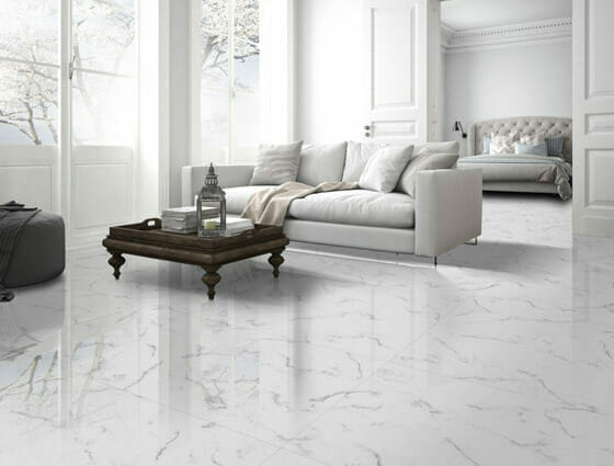 Statuario White Porcelain Tile with small veinis