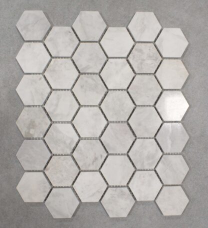 White and Grey Carrara marble mosaic for kitchen backsplash and bathroom, shower walls or floors.