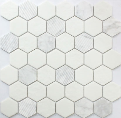 2 x 2 Hexagon White and Grey marble Nimbus For Shower Floor