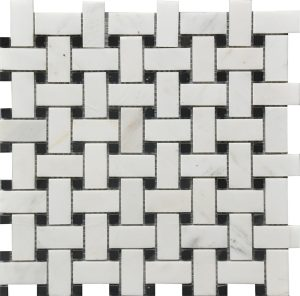 White Dolomite basket weaves with black dots for kitchen backsplash, bathroom and shower walls or floors. Comes on 12x12 mesh.