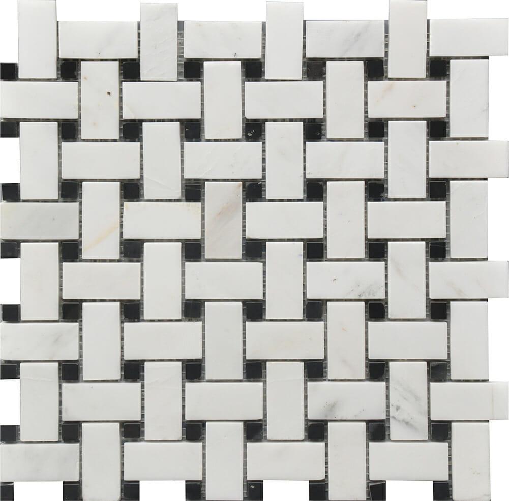 White Dolomite basket weaves with black dots for kitchen backsplash, bathroom and shower walls or floors. Comes on 12x12 mesh.