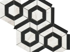 black and white marble hexagon pattern for kitchen backsplash, bathroom walls and floors