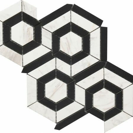 black and white marble hexagon pattern