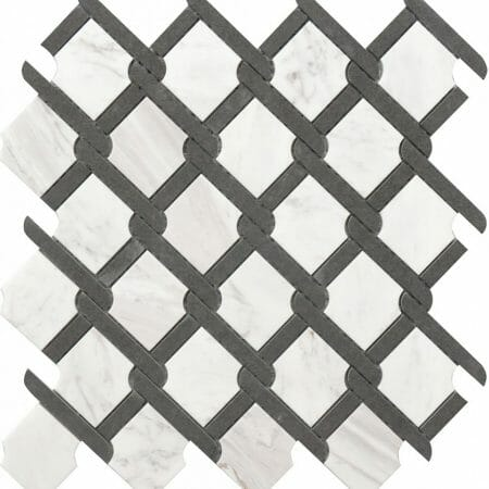 grey and white marble medallion pattern
