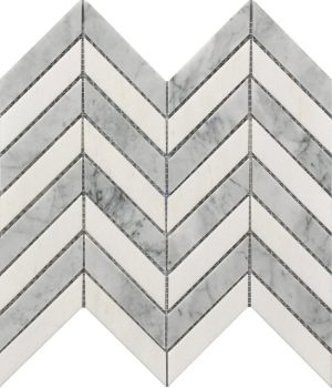 "White and grey marble Chevron Pattern decorative mosaic tile on an 11"" x 12"" sheet for kitchen backsplash, bathroom and shower wall or floors."