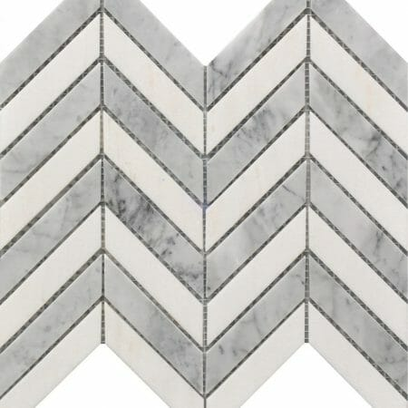 white and grey marble chevron pattern