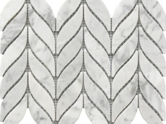 white and grey Carrara marble mosaic Spike pattern