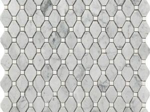 Carrara marble white and grey deco mosaic small rhombus
