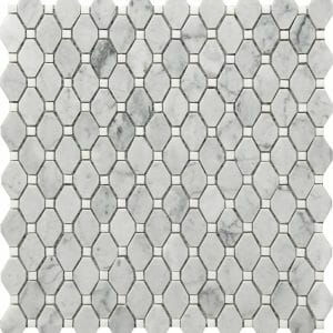Carrara marble white and grey deco mosaic small rhombus