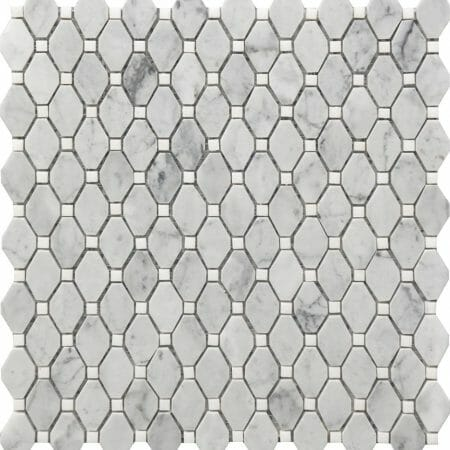 white and grey marble deco mosaic small rhombus