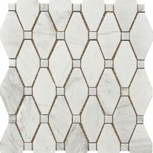 white and grey Carrara marble large rhombus pattern decorative mosaic tile