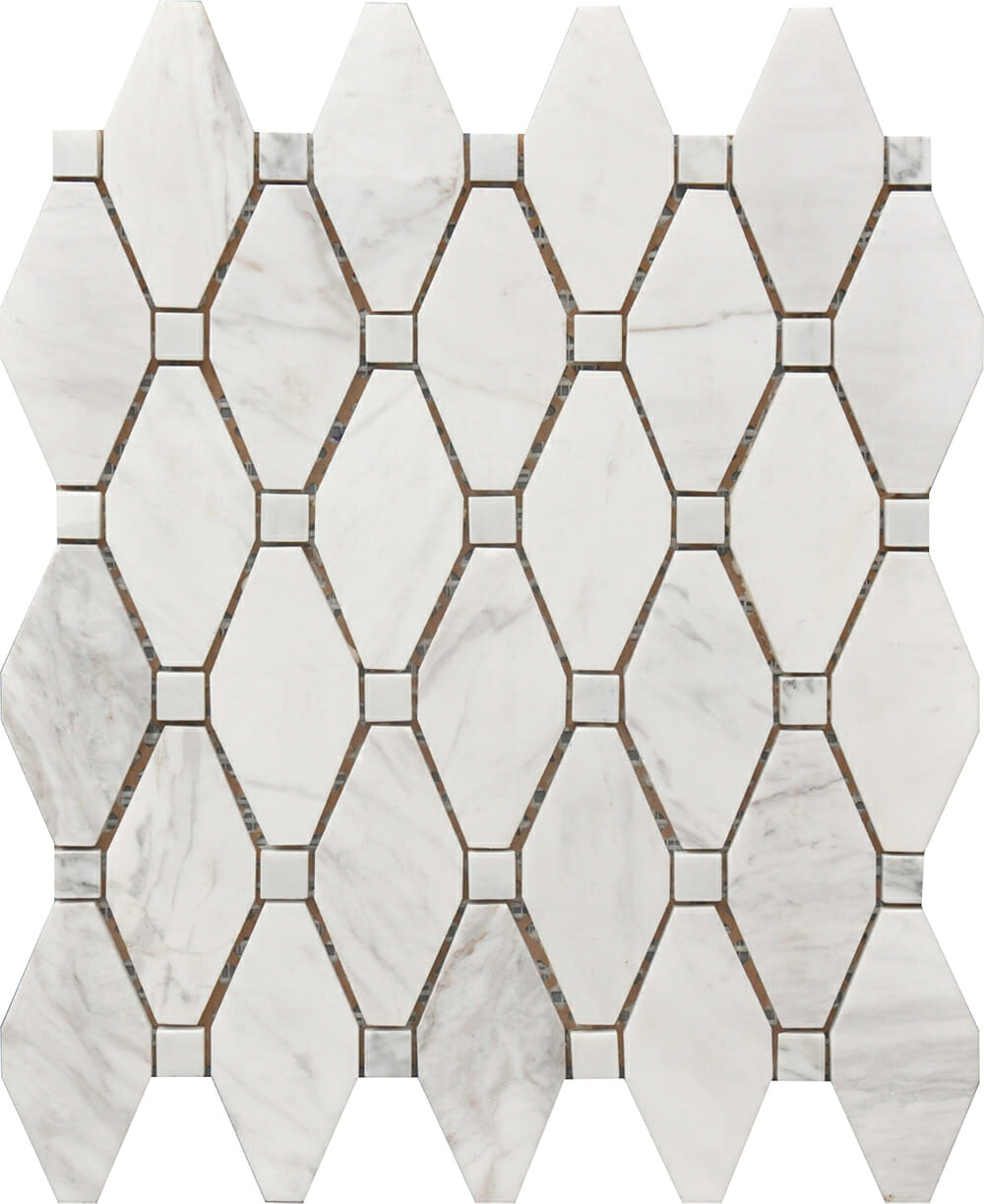 White Amp Grey Marble Large Rhombus Pattern Tiles And