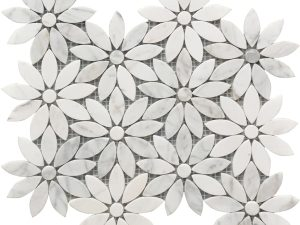 white and grey Carrara marble flower pattern for decorative use on a floor or wall