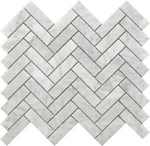 white and grey marble herringbone