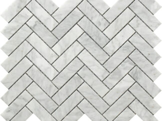 white and grey Carrara marble herringbone pattern decorative tile