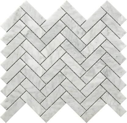 white and grey Carrara marble herringbone pattern decorative tile