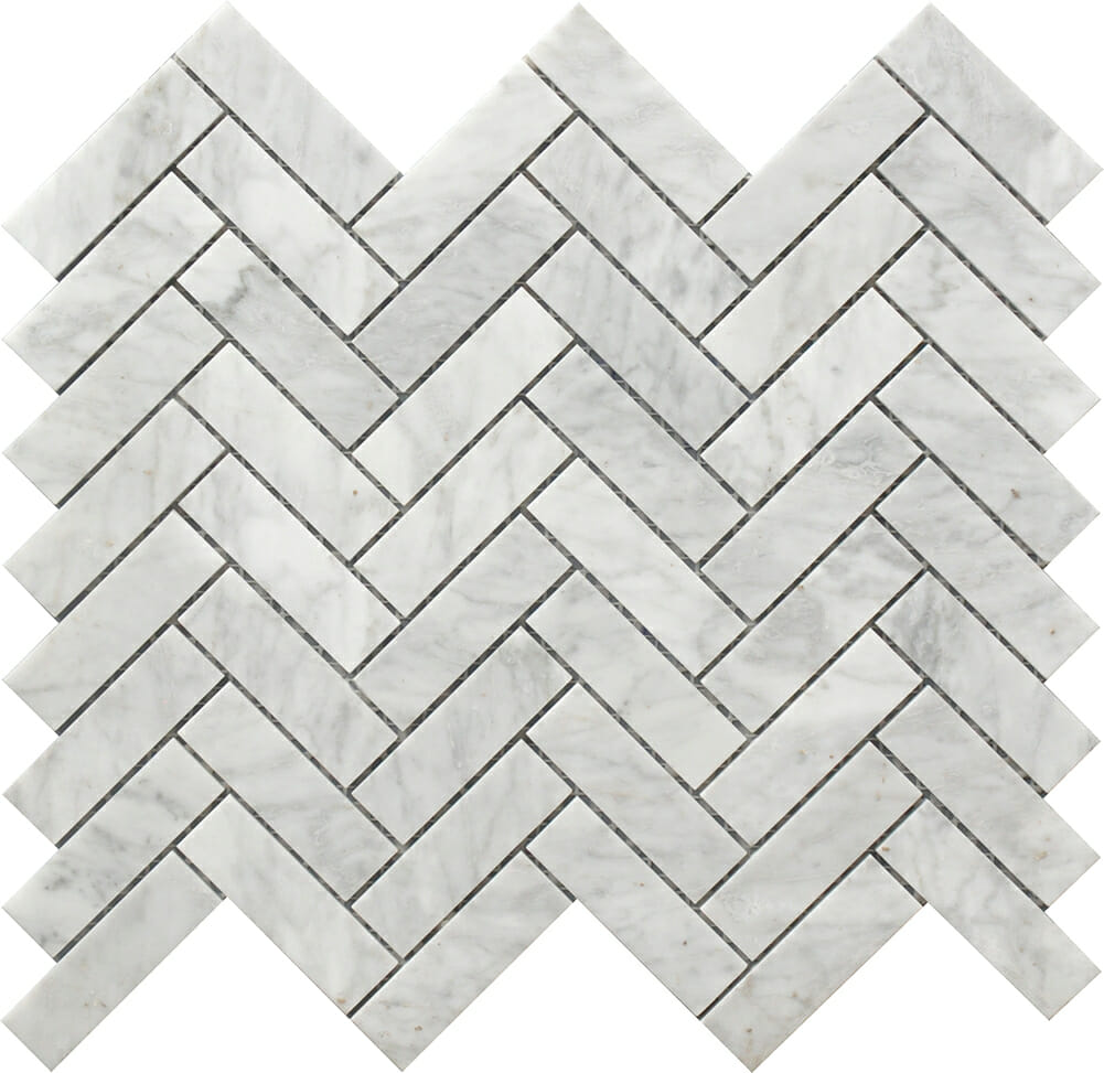 white and grey marble herringbone