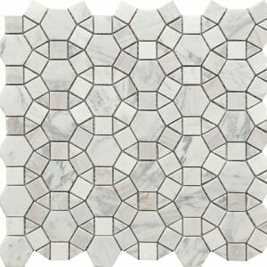 Kaleidoscope pattern decorative tile with white marble and shells
