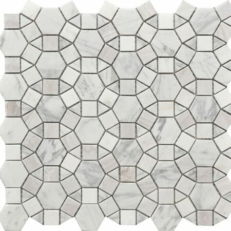 white marble and shell deco mosaic Kaleidoscope