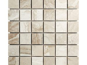 Diana Royal beige marble squares mosaic tile for kitchen backsplash, bathroom and shower walls or floors. Available on 12x12 mesh
