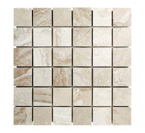 Diana Royal beige marble squares mosaic tile.
