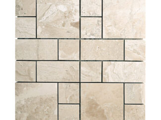 Diana Royal Beige marble french pattern mosaic tile for shower floor, kitchen backsplash, and wall mosaic tile. Available on 12x12 mesh