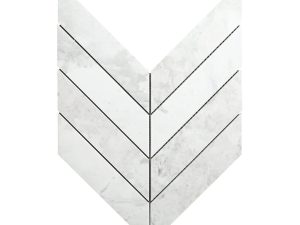 White Dolomite Chevron tile is a high-end accent tile that can be used on walls or floors for astatement. It's ideal for kitchen backsplash and bathrooms.
