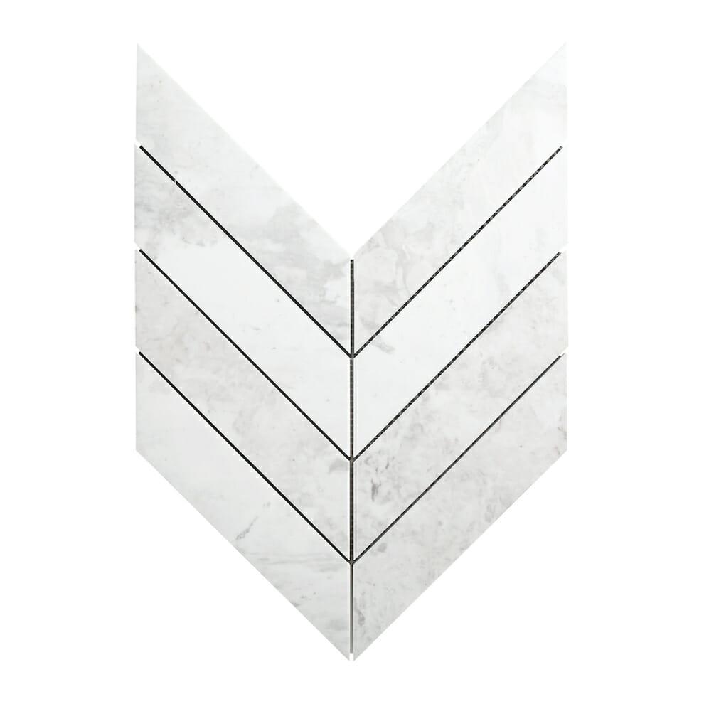 White Dolomite Chevron Tile