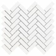 White Dolomite herringbone mosaic tile
