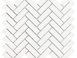 White Dolomite herringbone mosaic tile. Shower floors and walls, kitchen backsplash, bathroom walls, and floors. Available in the honed finish.