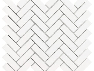 White Dolomite herringbone mosaic tile. Shower floors and walls, kitchen backsplash, bathroom walls, and floors. Available in the honed finish.
