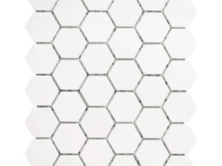 White Dolomite 2x2 hexagon mosaic tile for shower floor, kitchen backsplash, and wall mosaic tile. Available on 12x12 mesh with the polished finish.