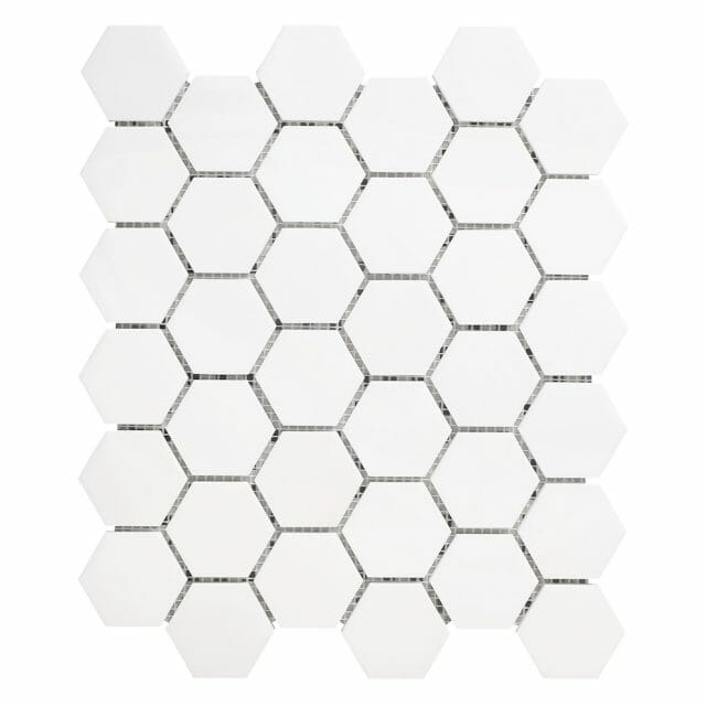 White Dolomite hexagon mosaic tile