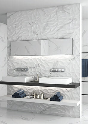 white heart 3d wall tile