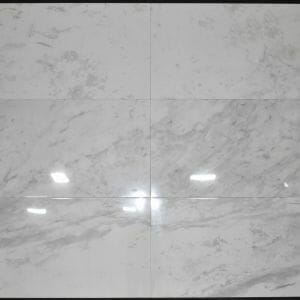 "The picture above is 24"" x 48"" White marble effect porcelain floor and wall tile Carrara Aura. This tile has heavy light grey color veining on a white background color"