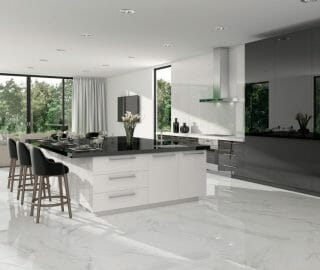 """White porcelain tile in 30"""" x 30"""" big squares. This tile has soft grey veining similar to select grade Calacatta marble."""