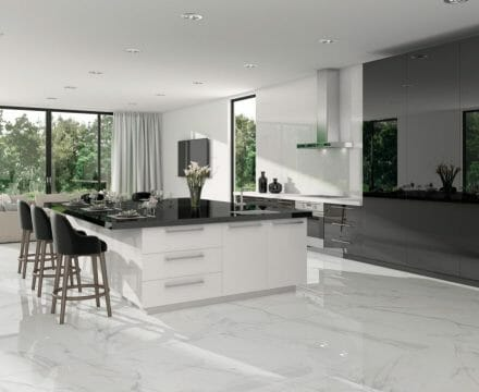 Large Format White Porcelain Tile With Grey Veining