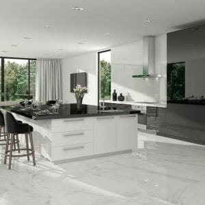 White floor tile with soft grey veining in 30x30 size with true polished finish. From Spain