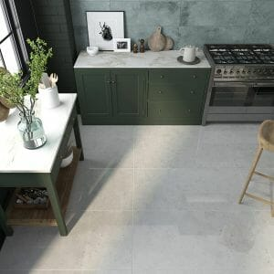 large format porcelain tile with the look of concrete floors in grey color.