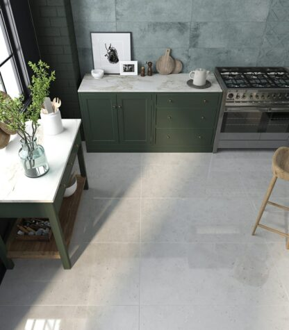 Porcelain tile with the look of polished concrete floors in large format.