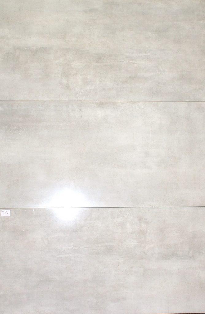 Concrete look tile Milano white in polished finish. Rectified porcelain tile from Italy